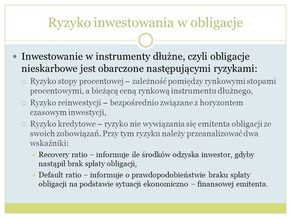 Ryzyko inwestowania w obligacje Inwestowanie w instrumenty dłużne, czyli obligacje nieskarbowe jest obarczone następującymi ryzykami: Ryzyko stopy procentowej – zależność pomiędzy rynkowymi stopami procentowymi, a bieżącą ceną rynkową instrumentu dłużnego, Ryzyko reinwestycji – bezpośrednio związane z horyzontem czasowym inwestycji, Ryzyko kredytowe – ryzyko nie wywiązania się emitenta obligacji ze swoich zobowiązań.