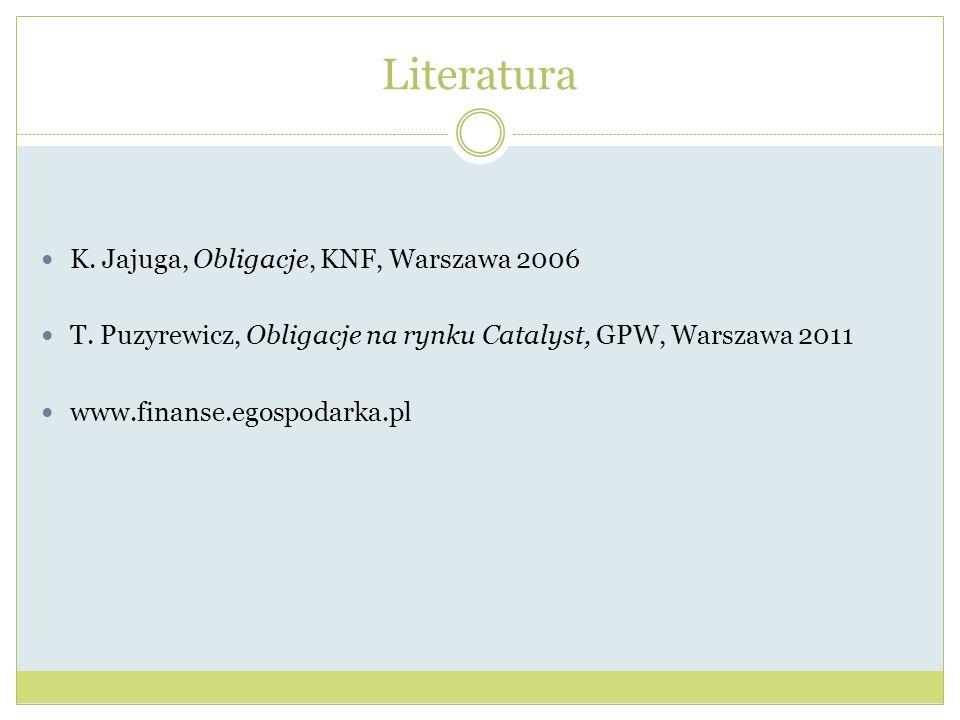 Literatura K.Jajuga, Obligacje, KNF, Warszawa 2006 T.