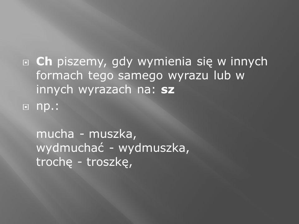 Ch piszemy, gdy wymienia się w innych formach tego samego wyrazu lub w innych wyrazach na: sz np.: mucha - muszka, wydmuchać - wydmuszka, trochę - tro