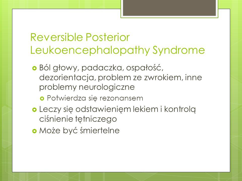 Reversible Posterior Leukoencephalopathy Syndrome Ból głowy, padaczka, ospałość, dezorientacja, problem ze zwrokiem, inne problemy neurologiczne Potwi