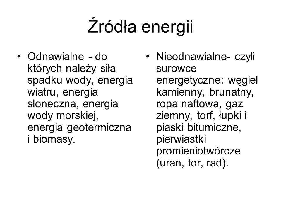 Źródła energii Odnawialne - do których należy siła spadku wody, energia wiatru, energia słoneczna, energia wody morskiej, energia geotermiczna i bioma