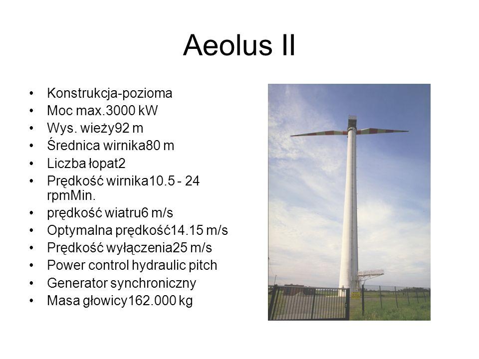 Aeolus II Konstrukcja-pozioma Moc max.3000 kW Wys. wieży92 m Średnica wirnika80 m Liczba łopat2 Prędkość wirnika10.5 - 24 rpmMin. prędkość wiatru6 m/s