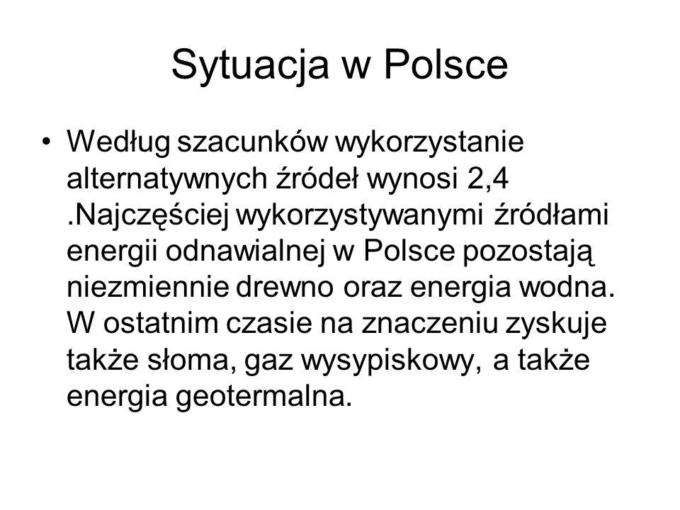 Sytuacja w Polsce Według szacunków wykorzystanie alternatywnych źródeł wynosi 2,4.Najczęściej wykorzystywanymi źródłami energii odnawialnej w Polsce p