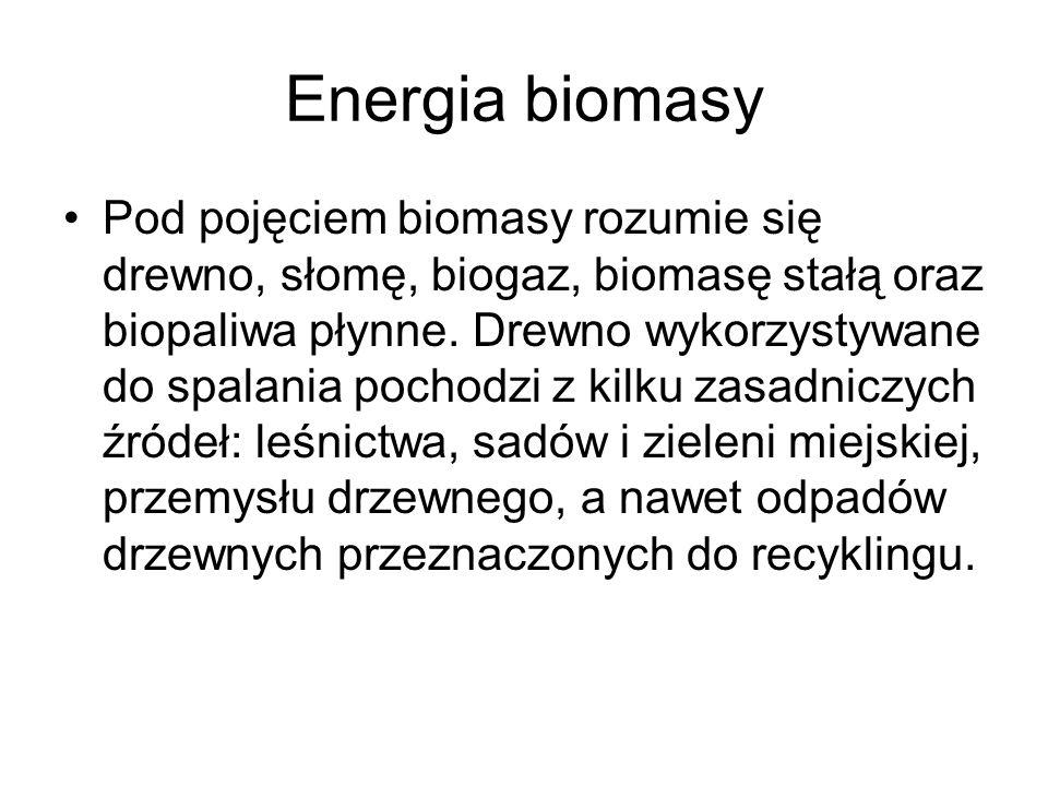 Energia biomasy Pod pojęciem biomasy rozumie się drewno, słomę, biogaz, biomasę stałą oraz biopaliwa płynne. Drewno wykorzystywane do spalania pochodz