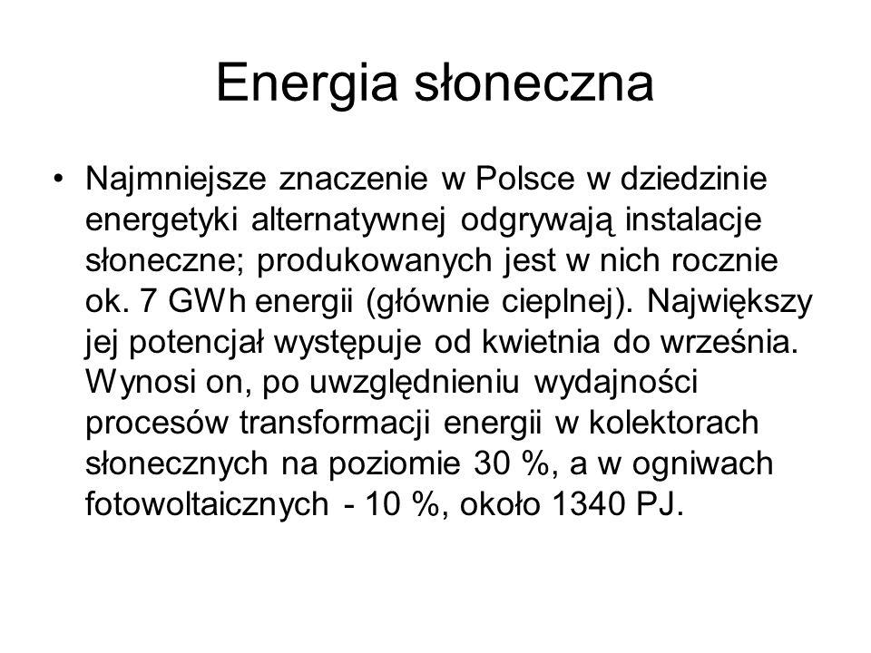 Energia słoneczna Najmniejsze znaczenie w Polsce w dziedzinie energetyki alternatywnej odgrywają instalacje słoneczne; produkowanych jest w nich roczn