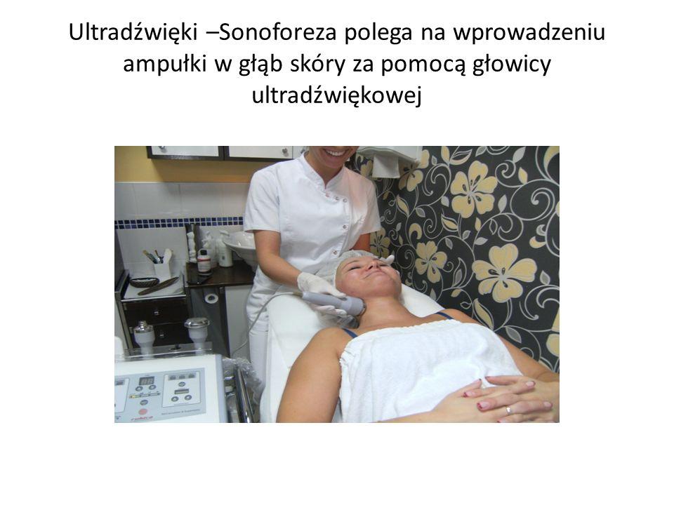 Ultradźwięki –Sonoforeza polega na wprowadzeniu ampułki w głąb skóry za pomocą głowicy ultradźwiękowej
