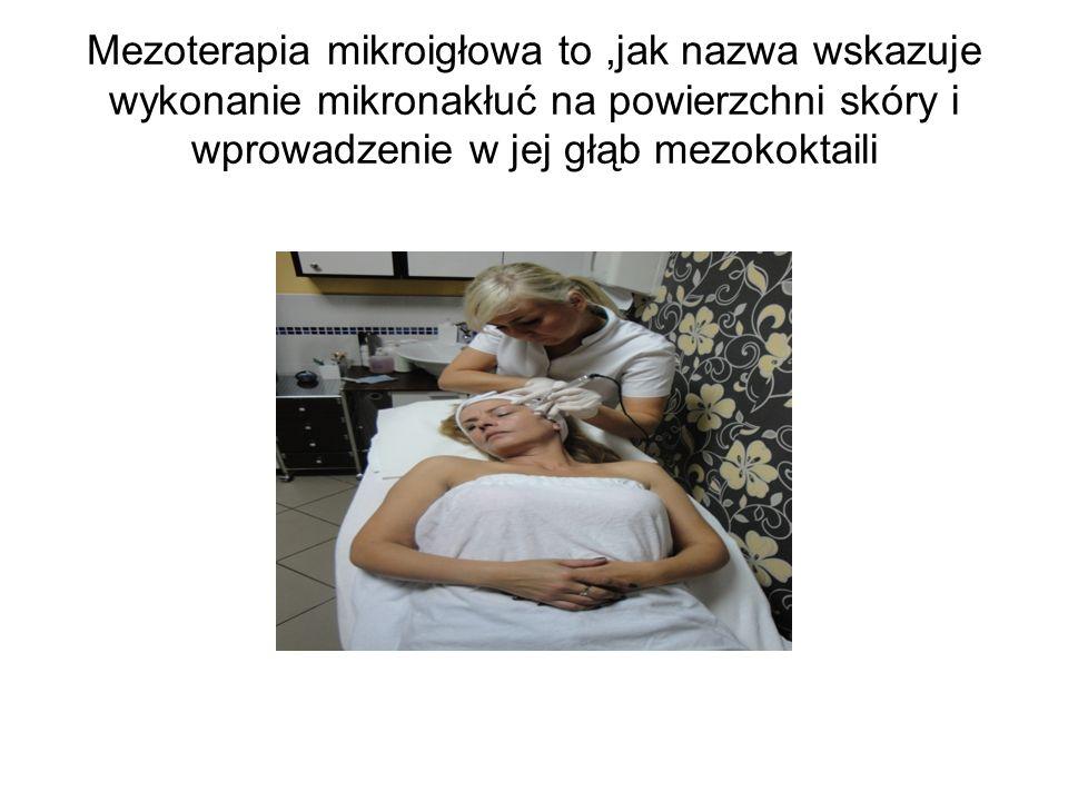 Mezoterapia mikroigłowa to,jak nazwa wskazuje wykonanie mikronakłuć na powierzchni skóry i wprowadzenie w jej głąb mezokoktaili