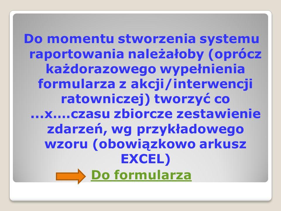 Do momentu stworzenia systemu raportowania należałoby (oprócz każdorazowego wypełnienia formularza z akcji/interwencji ratowniczej) tworzyć co...x….cz