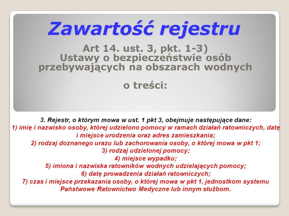 Zawartość rejestru Art 14. ust. 3, pkt. 1-3) Ustawy o bezpieczeństwie osób przebywających na obszarach wodnych o treści: 3. Rejestr, o którym mowa w u