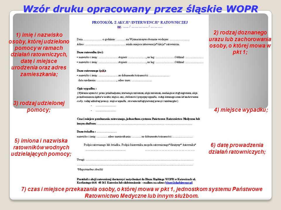 Wzór druku opracowany przez śląskie WOPR 7) czas i miejsce przekazania osoby, o której mowa w pkt 1, jednostkom systemu Państwowe Ratownictwo Medyczne