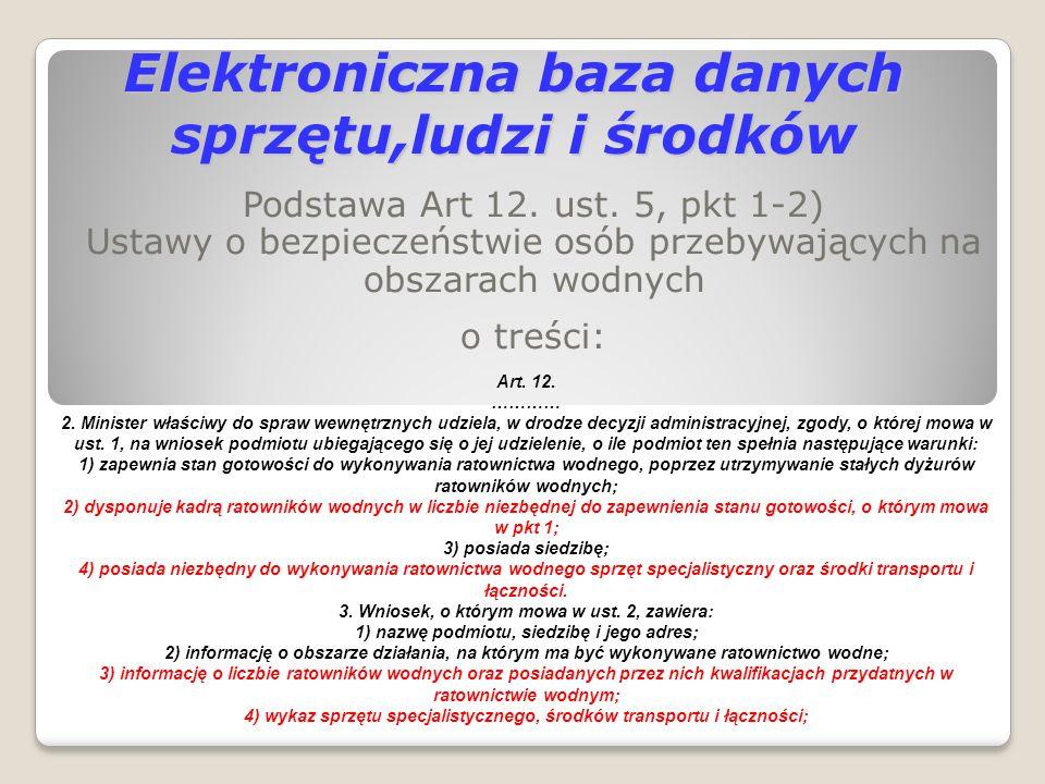 Elektroniczna baza danych sprzętu,ludzi i środków Podstawa Art 12. ust. 5, pkt 1-2) Ustawy o bezpieczeństwie osób przebywających na obszarach wodnych