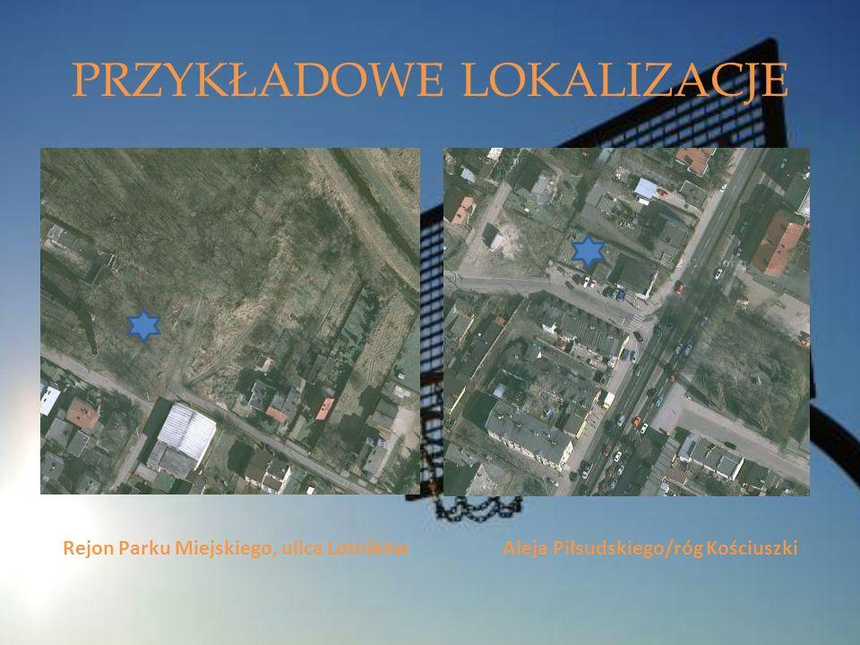 PRZYKŁADOWE LOKALIZACJE Rejon Parku Miejskiego, ulica Lotników Aleja Piłsudskiego/róg Kościuszki