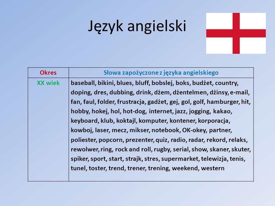 Język angielski OkresSłowa zapożyczone z języka angielskiego XX wiekbaseball, bikini, blues, bluff, bobslej, boks, budżet, country, doping, dres, dubb