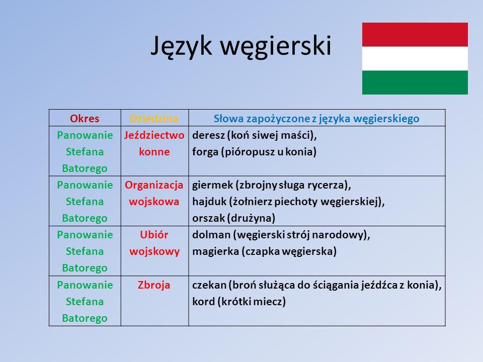 Język węgierski OkresDziedzinaSłowa zapożyczone z języka węgierskiego Panowanie Stefana Batorego Jeździectwo konne deresz (koń siwej maści), forga (pi