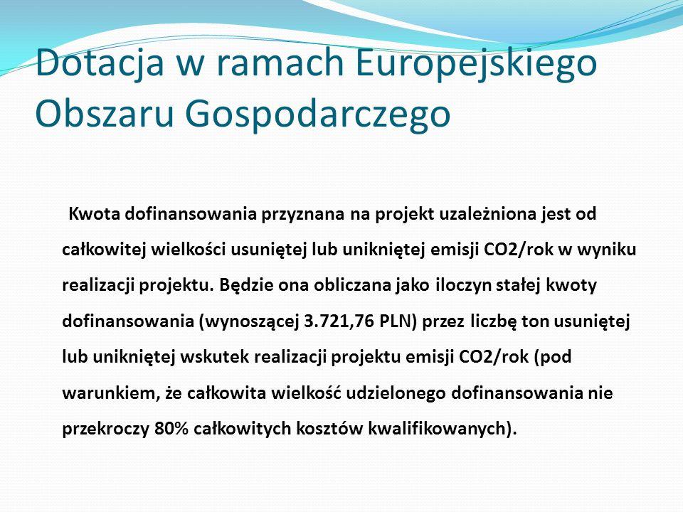 Dotacja w ramach Europejskiego Obszaru Gospodarczego Kwota dofinansowania przyznana na projekt uzależniona jest od całkowitej wielkości usuniętej lub