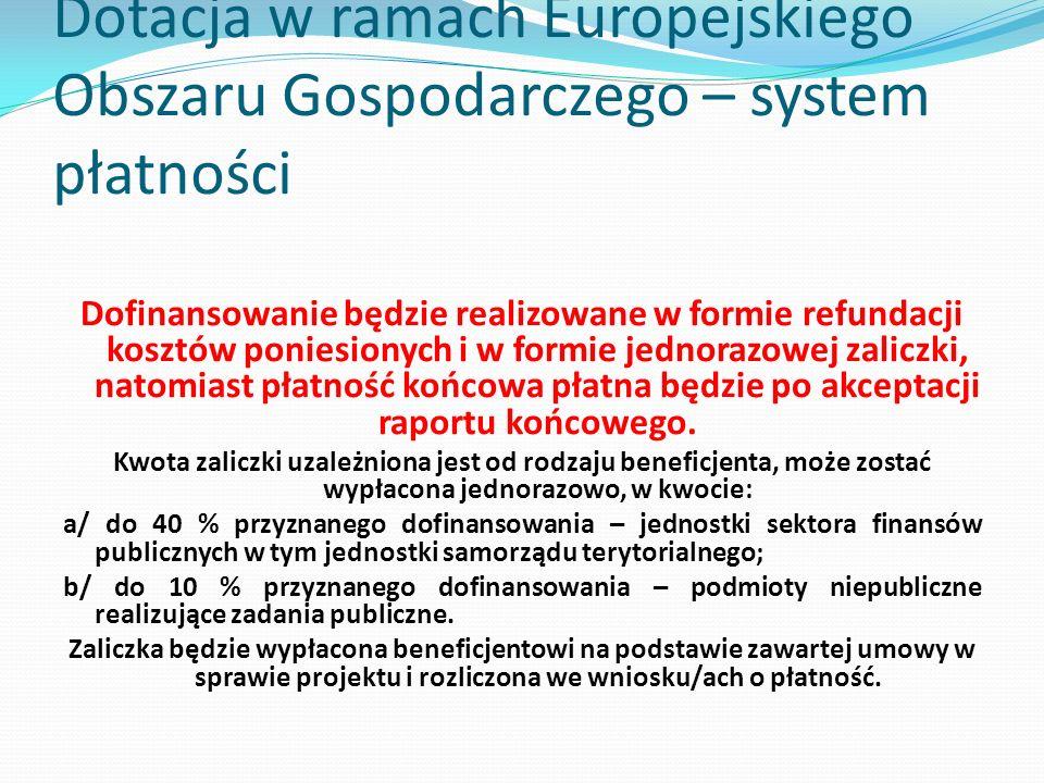 Dotacja w ramach Europejskiego Obszaru Gospodarczego – system płatności Dofinansowanie będzie realizowane w formie refundacji kosztów poniesionych i w