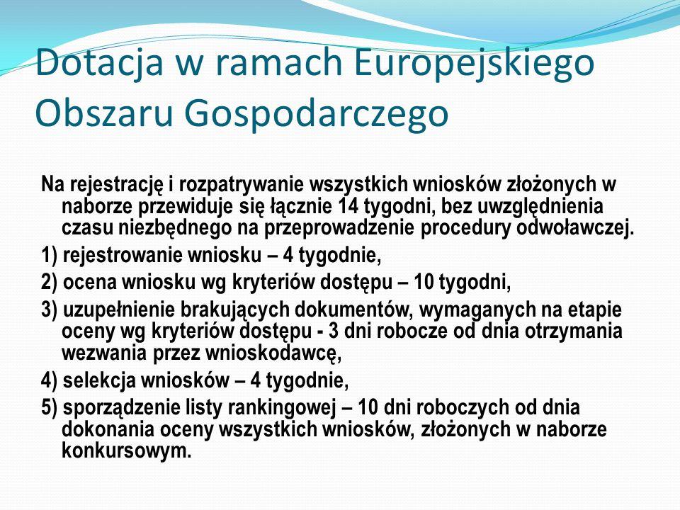 Dotacja w ramach Europejskiego Obszaru Gospodarczego Na rejestrację i rozpatrywanie wszystkich wniosków złożonych w naborze przewiduje się łącznie 14