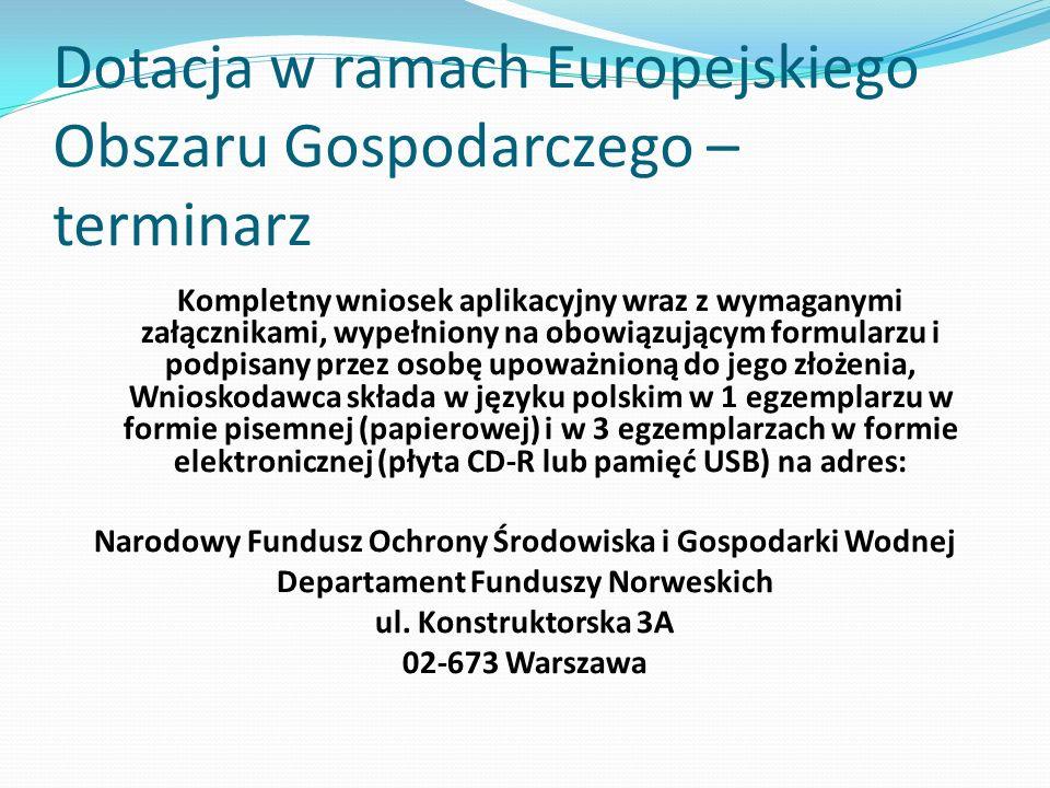 Dotacja w ramach Europejskiego Obszaru Gospodarczego – terminarz Kompletny wniosek aplikacyjny wraz z wymaganymi załącznikami, wypełniony na obowiązuj