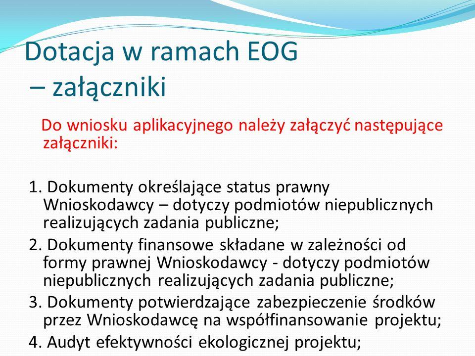 Dotacja w ramach EOG – załączniki Do wniosku aplikacyjnego należy załączyć następujące załączniki: 1. Dokumenty określające status prawny Wnioskodawcy
