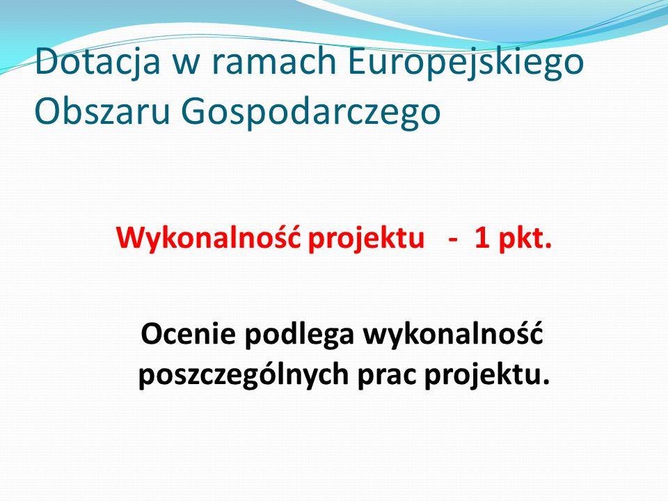 Dotacja w ramach Europejskiego Obszaru Gospodarczego Wykonalność projektu - 1 pkt. Ocenie podlega wykonalność poszczególnych prac projektu.