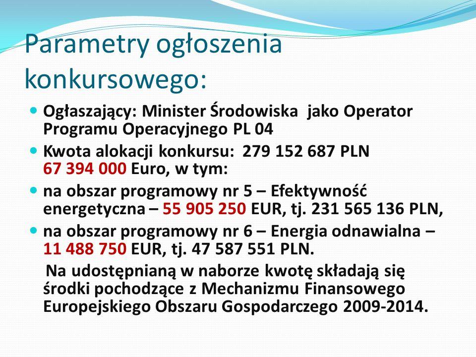 Parametry ogłoszenia konkursowego: Ogłaszający: Minister Środowiska jako Operator Programu Operacyjnego PL 04 Kwota alokacji konkursu: 279 152 687 PLN