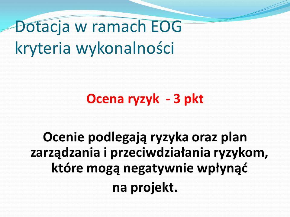 Dotacja w ramach EOG kryteria wykonalności Ocena ryzyk - 3 pkt Ocenie podlegają ryzyka oraz plan zarządzania i przeciwdziałania ryzykom, które mogą ne