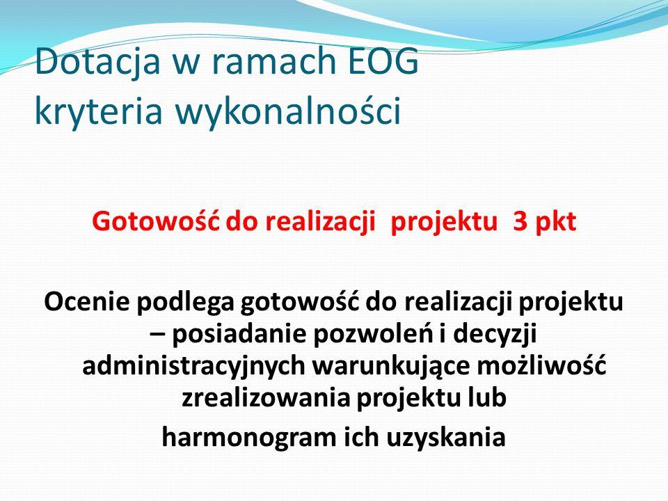 Dotacja w ramach EOG kryteria wykonalności Gotowość do realizacji projektu 3 pkt Ocenie podlega gotowość do realizacji projektu – posiadanie pozwoleń