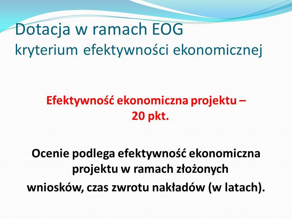 Dotacja w ramach EOG kryterium efektywności ekonomicznej Efektywność ekonomiczna projektu – 20 pkt. Ocenie podlega efektywność ekonomiczna projektu w