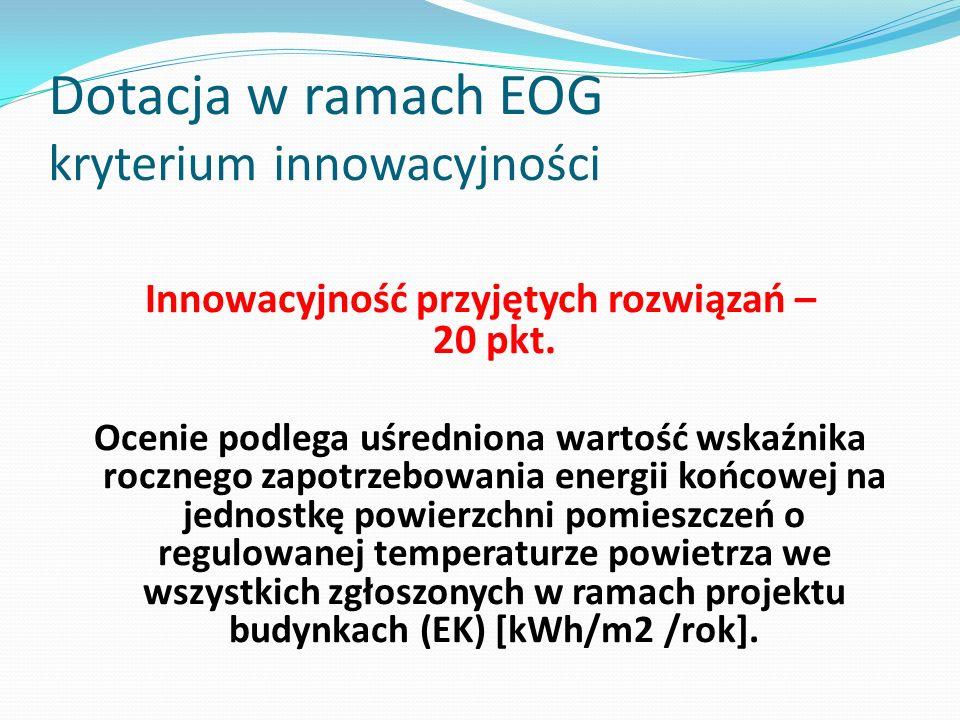 Dotacja w ramach EOG kryterium innowacyjności Innowacyjność przyjętych rozwiązań – 20 pkt. Ocenie podlega uśredniona wartość wskaźnika rocznego zapotr