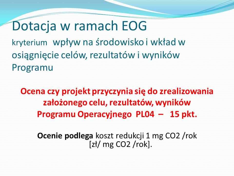 Dotacja w ramach EOG kryterium wpływ na środowisko i wkład w osiągnięcie celów, rezultatów i wyników Programu Ocena czy projekt przyczynia się do zrea