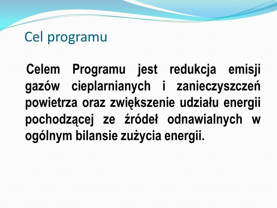 Cel programu Celem Programu jest redukcja emisji gazów cieplarnianych i zanieczyszczeń powietrza oraz zwiększenie udziału energii pochodzącej ze źróde