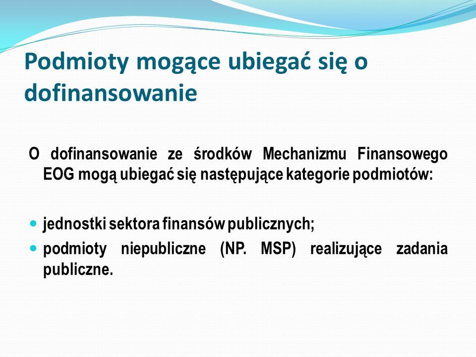 Podmioty mogące ubiegać się o dofinansowanie O dofinansowanie ze środków Mechanizmu Finansowego EOG mogą ubiegać się następujące kategorie podmiotów: