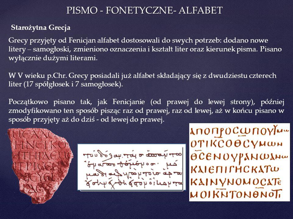 PISMO - FONETYCZNE- ALFABET Grecy przyjęty od Fenicjan alfabet dostosowali do swych potrzeb: dodano nowe litery – samogłoski, zmieniono oznaczenia i k