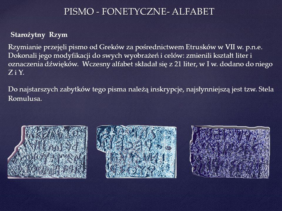PISMO - FONETYCZNE- ALFABET Rzymianie przejęli pismo od Greków za pośrednictwem Etrusków w VII w. p.n.e. Dokonali jego modyfikacji do swych wyobrażeń