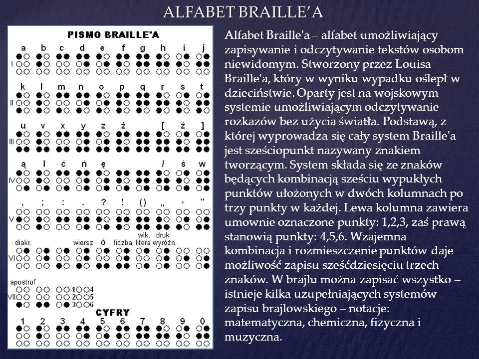 ALFABET BRAILLEA Alfabet Braille'a – alfabet umożliwiający zapisywanie i odczytywanie tekstów osobom niewidomym. Stworzony przez Louisa Braille'a, któ