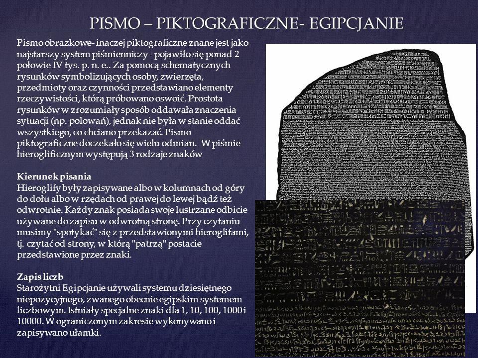 PISMO – PIKTOGRAFICZNE- EGIPCJANIE Pismo obrazkowe- inaczej piktograficzne znane jest jako najstarszy system piśmienniczy - pojawiło się ponad 2 połow