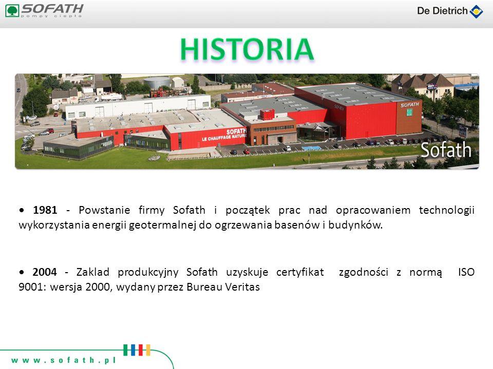 1981 - Powstanie firmy Sofath i początek prac nad opracowaniem technologii wykorzystania energii geotermalnej do ogrzewania basenów i budynków. 2004 -