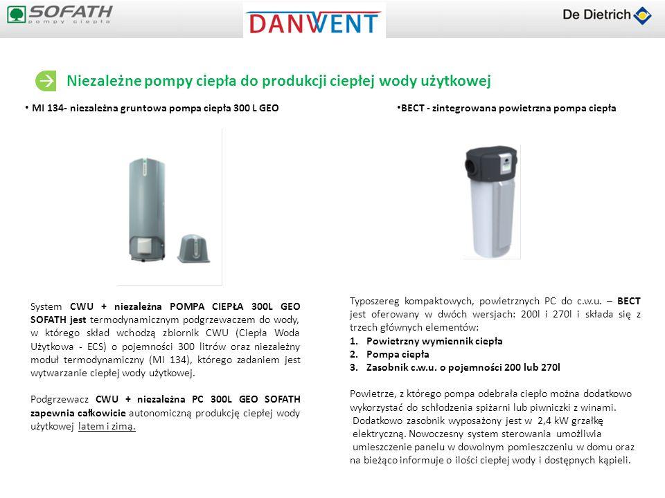 MI 134- niezależna gruntowa pompa ciepła 300 L GEO BECT - zintegrowana powietrzna pompa ciepła Niezależne pompy ciepła do produkcji ciepłej wody użytk