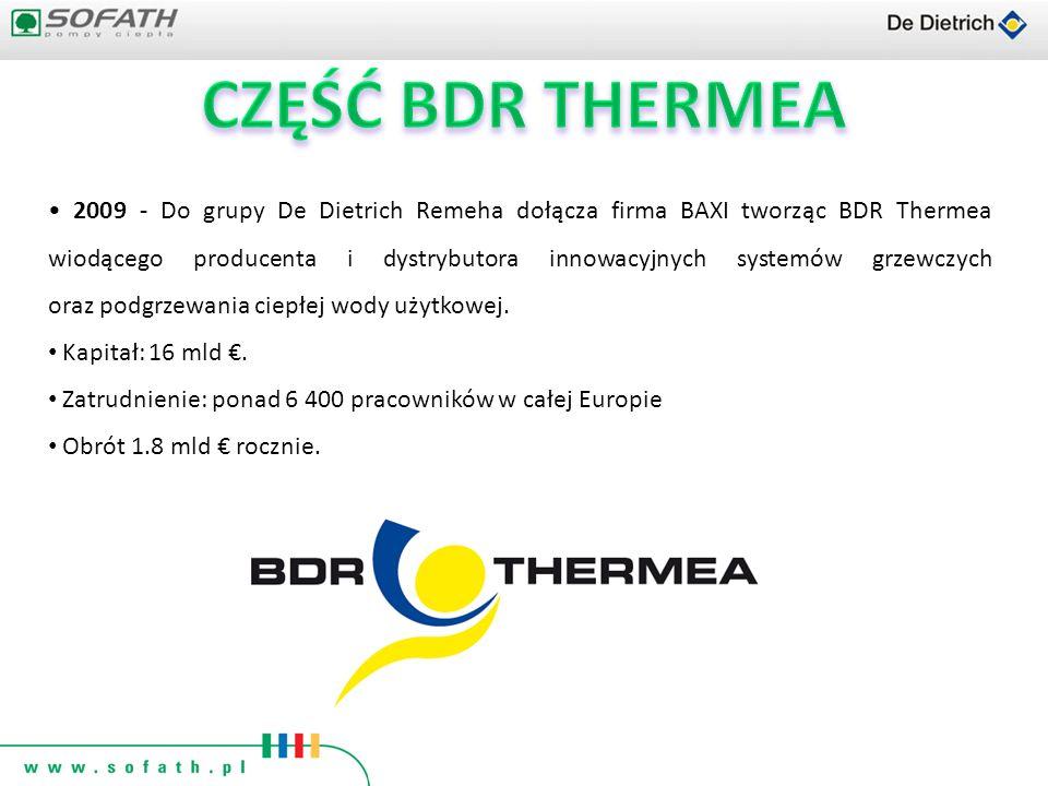 2009 - Do grupy De Dietrich Remeha dołącza firma BAXI tworząc BDR Thermea wiodącego producenta i dystrybutora innowacyjnych systemów grzewczych oraz p