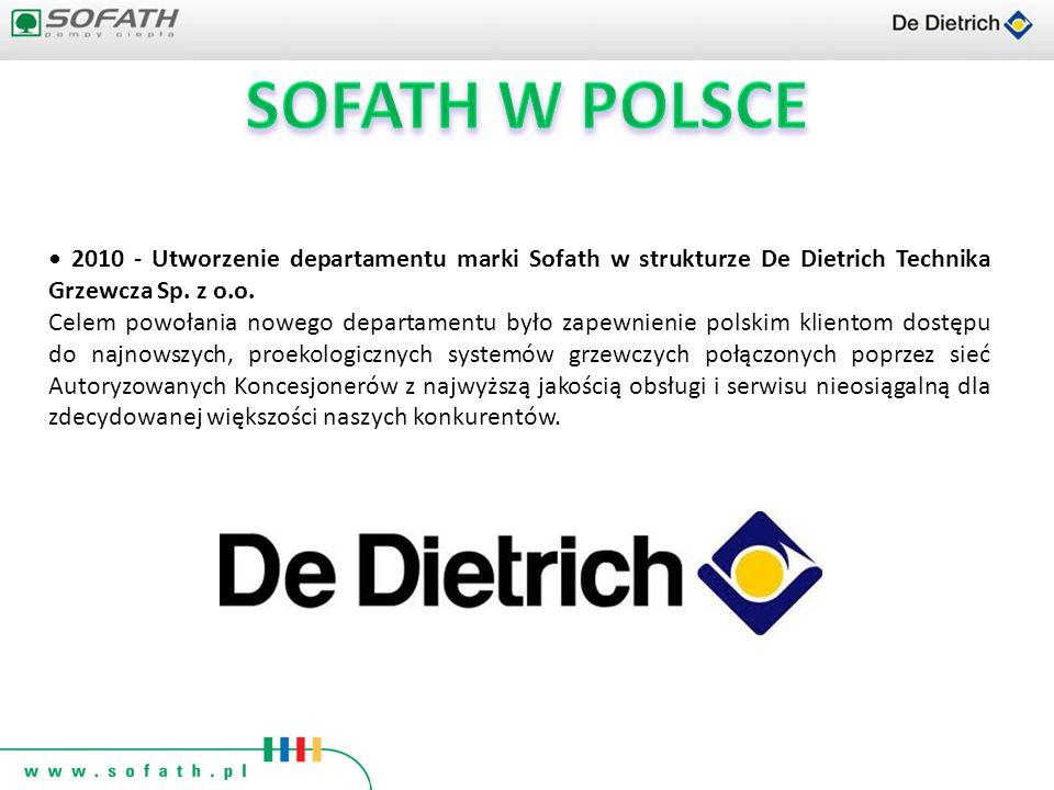 2010 - Utworzenie departamentu marki Sofath w strukturze De Dietrich Technika Grzewcza Sp. z o.o. Celem powołania nowego departamentu było zapewnienie