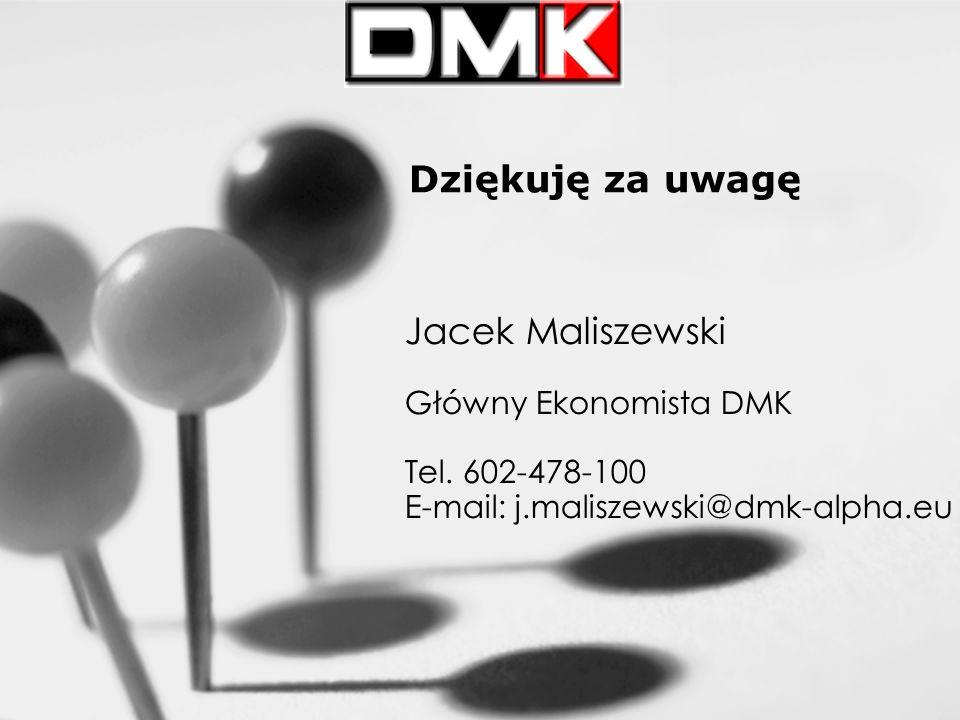 Dziękuję za uwagę Jacek Maliszewski Główny Ekonomista DMK Tel.