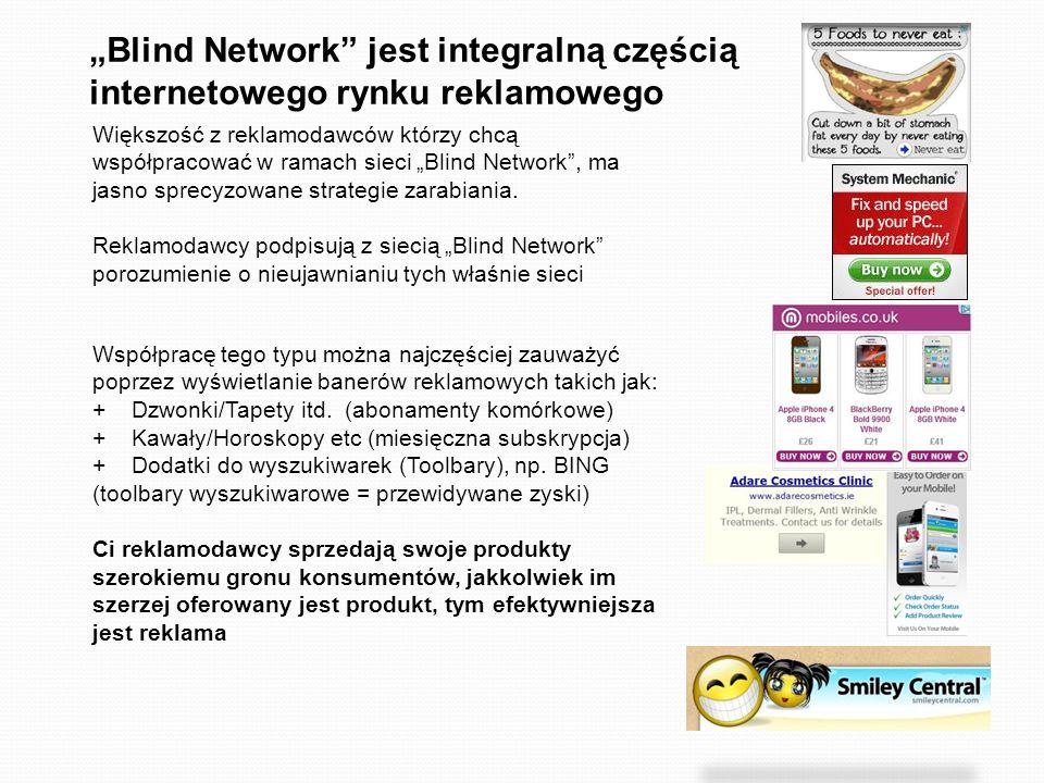 Blind Network jest integralną częścią internetowego rynku reklamowego Większość z reklamodawców którzy chcą współpracować w ramach sieci Blind Network