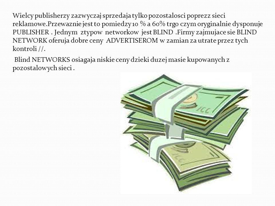 Wielcy publisherzy zazwyczaj sprzedaja tylko pozostalosci poprezz sieci reklamowe.Przewaznie jest to pomiedzy 10 % a 60% trgo czym oryginalnie dysponu