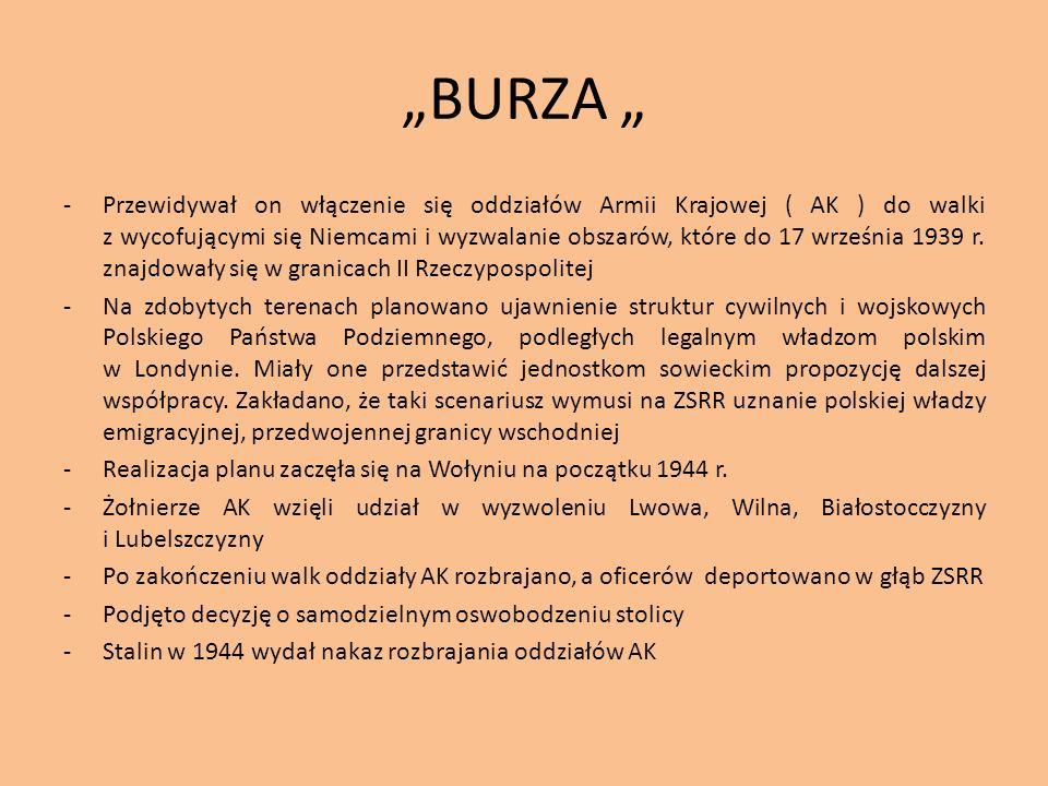 BURZA -Przewidywał on włączenie się oddziałów Armii Krajowej ( AK ) do walki z wycofującymi się Niemcami i wyzwalanie obszarów, które do 17 września 1