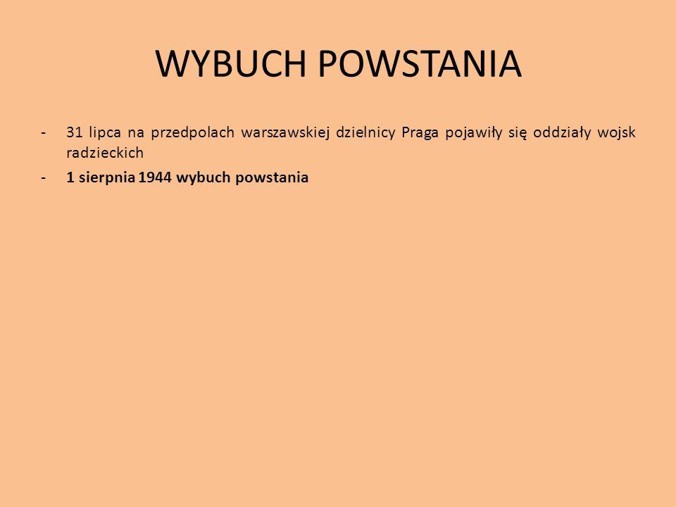 WYBUCH POWSTANIA -31 lipca na przedpolach warszawskiej dzielnicy Praga pojawiły się oddziały wojsk radzieckich -1 sierpnia 1944 wybuch powstania