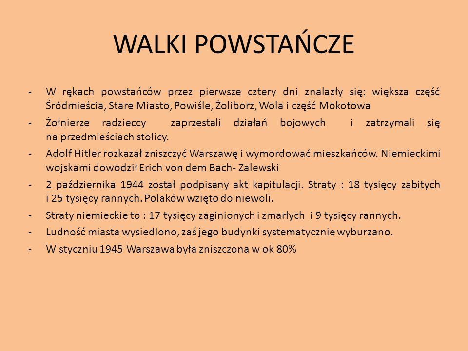 WALKI POWSTAŃCZE -W rękach powstańców przez pierwsze cztery dni znalazły się: większa część Śródmieścia, Stare Miasto, Powiśle, Żoliborz, Wola i część