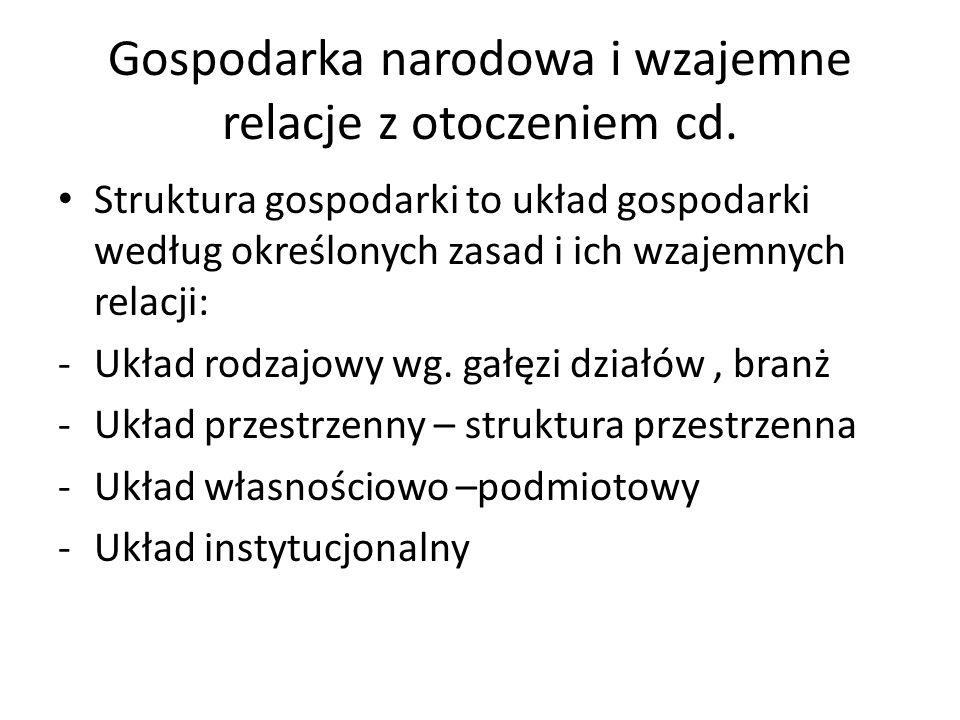Gospodarka narodowa i wzajemne relacje z otoczeniem cd. Struktura gospodarki to układ gospodarki według określonych zasad i ich wzajemnych relacji: -U