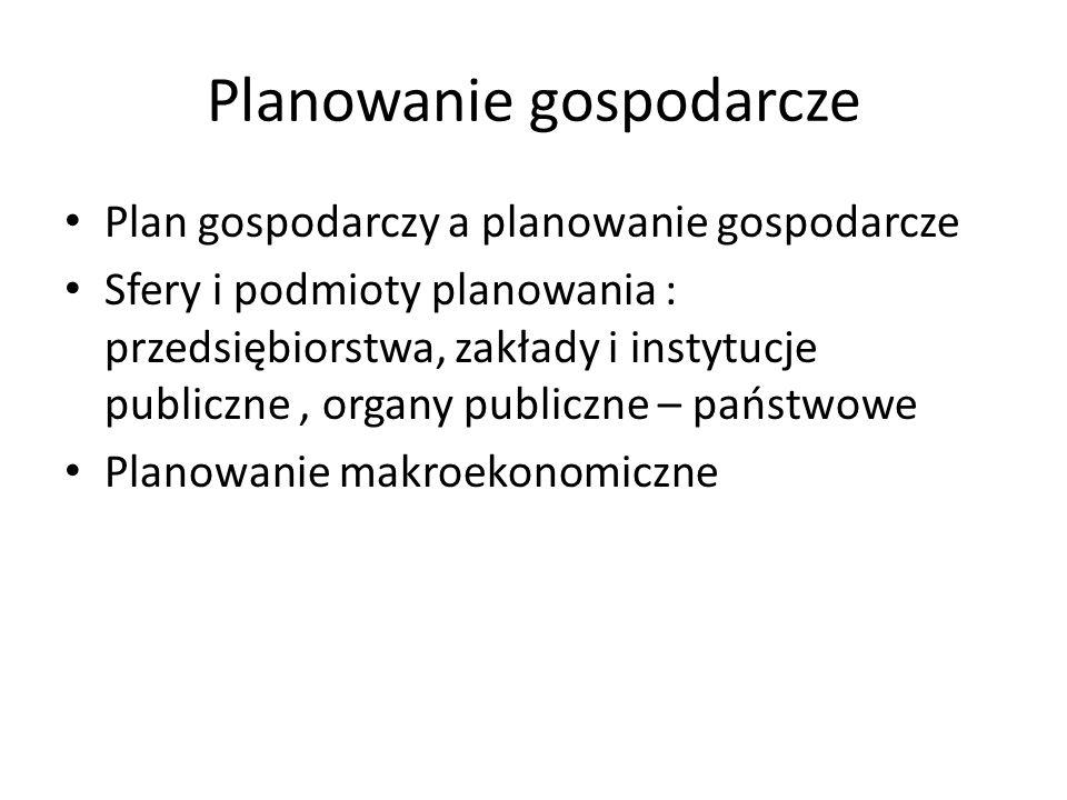 Planowanie gospodarcze Plan gospodarczy a planowanie gospodarcze Sfery i podmioty planowania : przedsiębiorstwa, zakłady i instytucje publiczne, organ