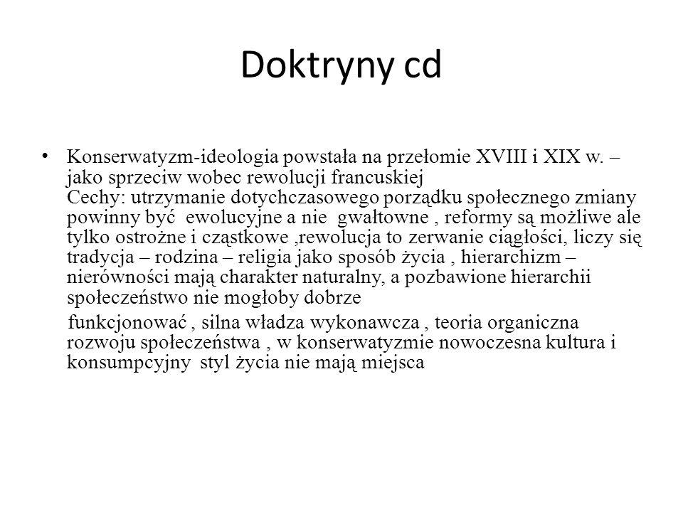 Doktryny cd Konserwatyzm-ideologia powstała na przełomie XVIII i XIX w. – jako sprzeciw wobec rewolucji francuskiej Cechy: utrzymanie dotychczasowego