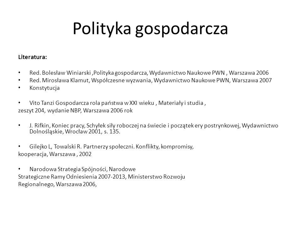 Polityka gospodarcza Literatura: Red. Bolesław Winiarski,Polityka gospodarcza, Wydawnictwo Naukowe PWN, Warszawa 2006 Red. Mirosława Klamut, Współczes